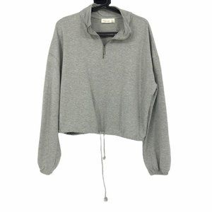 RD Style (Anthro) grey cropped half zip pullover